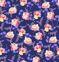 Floral pattern with roses and summer flowers vector image
