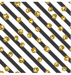 gold on black and white stripe seamless pattern vector image vector image