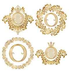 Golden letter o vintage monograms set heraldic vector