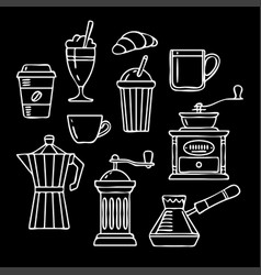 Hand drawn collection sketch coffee vector