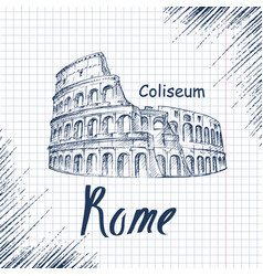 Hand drawn sketch of the coliseum vector