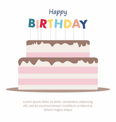 happy birthday cake card birthday party elements vector image