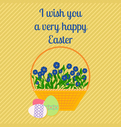 Happy easter yellow greeting card vector