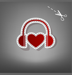 Headphones with heart red icon with for vector