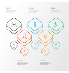 Human outline icons set collection of climbing vector