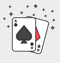 magic cards black line icon flat style vector image