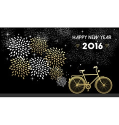 New Year 2016 bike gold firework night star vector image vector image