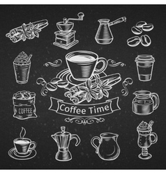 Set of hand drawn decorative coffee icons vector image vector image