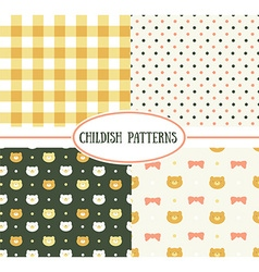 Set of retro childish seamless patterns vector image