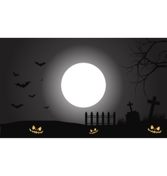 Silhouette of scary halloween pumpkins and bat vector