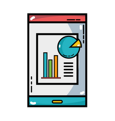 Smartphone with company document and statistics vector