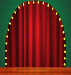 Stage with red curtain lights and wooden floor vector image