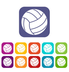 volleyball ball icons set flat vector image vector image
