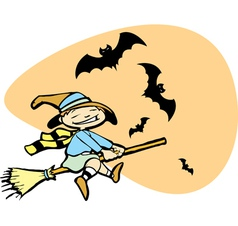 Young Witch with Bats vector image