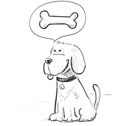 Cartoon dog dreaming about bone vector image