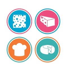 Cheese sign sliced food with chief hat icons vector