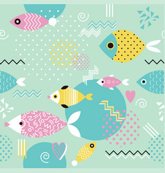 pattern with geometric fish in memphis style vector image