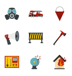 Fire emergency icons set flat style vector