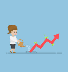 Businesswoman watering business graph that growth vector
