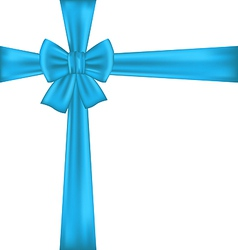 Blue bow for packing gift vector