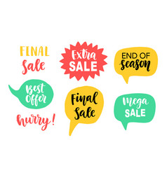 Sale banner template elements with hand lettering vector