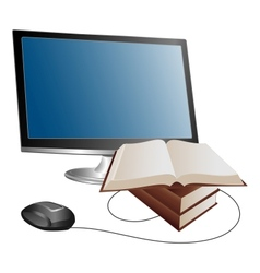 Monitor and books vector