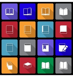 Book icon set wiht long shadow vector