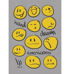 Emoticons set hand drawn eps8 vector