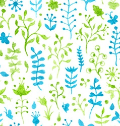 Seamless watercolor grass pattern vector
