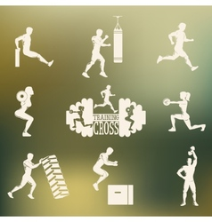 Cross fitness silhouettes vector