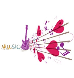 Music background with notes and guitar vector