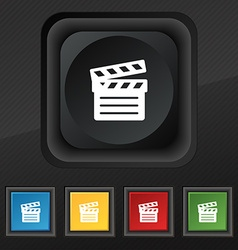 Cinema clapper icon symbol set of five colorful vector