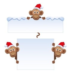 Smiley monkey head in christmas red hat peeking vector