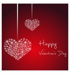 happy valentine with hanging hearts from little vector image