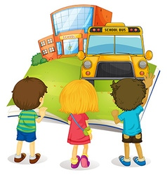 Giant book with children and school vector image