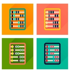 Concept of flat icons with long shadow abacus vector