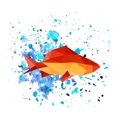abstract origami fish on watercolor background vector image