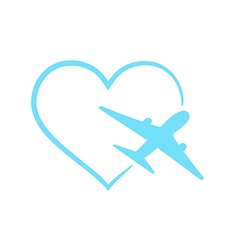 Airplane symbol in shape heart vector image