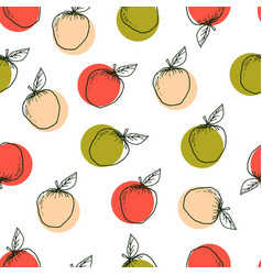 apple hand drawn seamless pattern vector image vector image