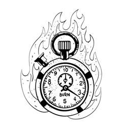 Cartoon image of flaming stop watch vector