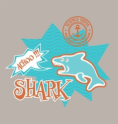 Cartoon shark print for kids vector