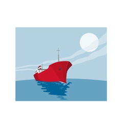 Container ship cargo boat retro vector