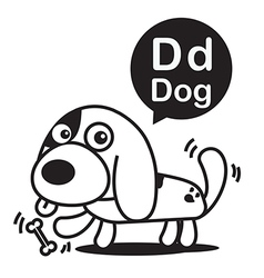 D dog cartoon and alphabet for children to vector