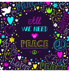 Dark purple love and peace theme background with vector
