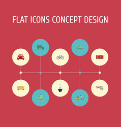 flat icons automobile chopper metro and other vector image vector image