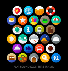 Flat round icon set 5-travel vector