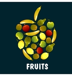 Fruits flat icons in shape of apple vector