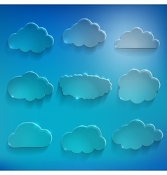 Glossy cloud storage icon set vector