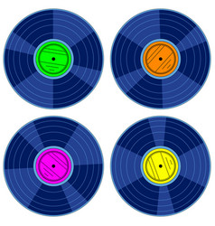 gramophone record disk set vector image vector image