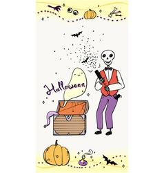 Halloween greeting card with skeleton vector